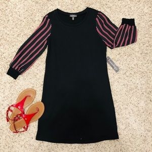 Luxology Black Red/White Striped Sleeves Dress